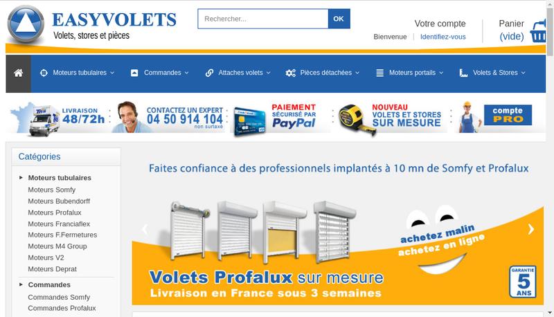 Capture d'écran du site de Easy Volets