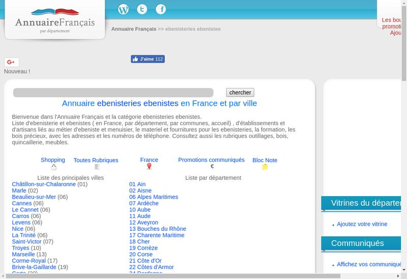 Capture d'écran du site de Alca Ebenisterie