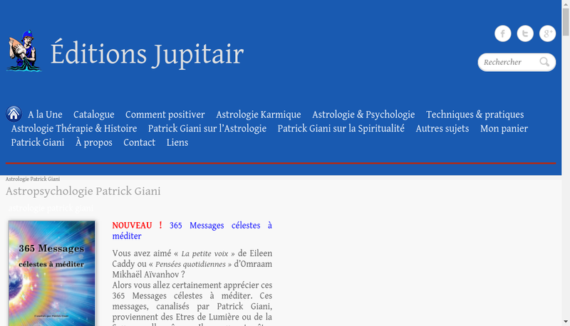 Capture d'écran du site de Jupitair