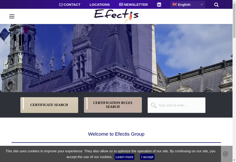 Capture d'écran du site de Efectis France