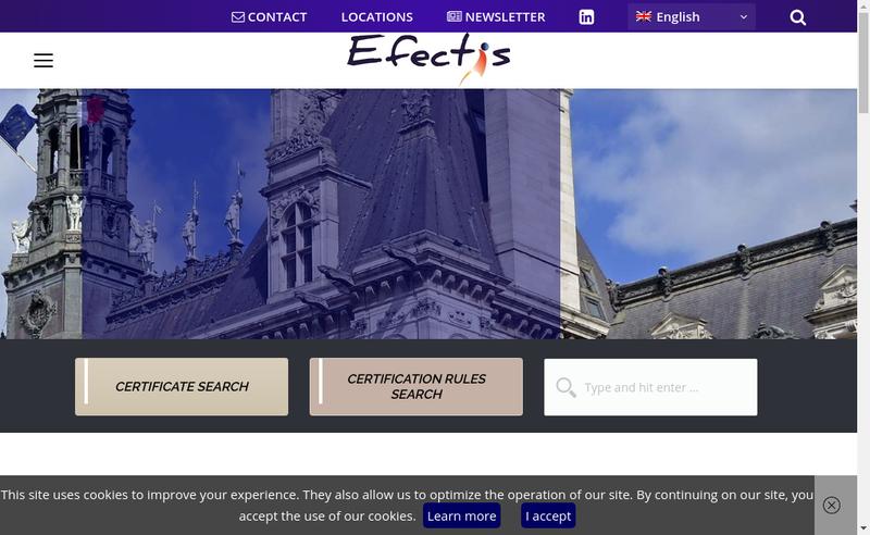 Capture d'écran du site de Efectis France