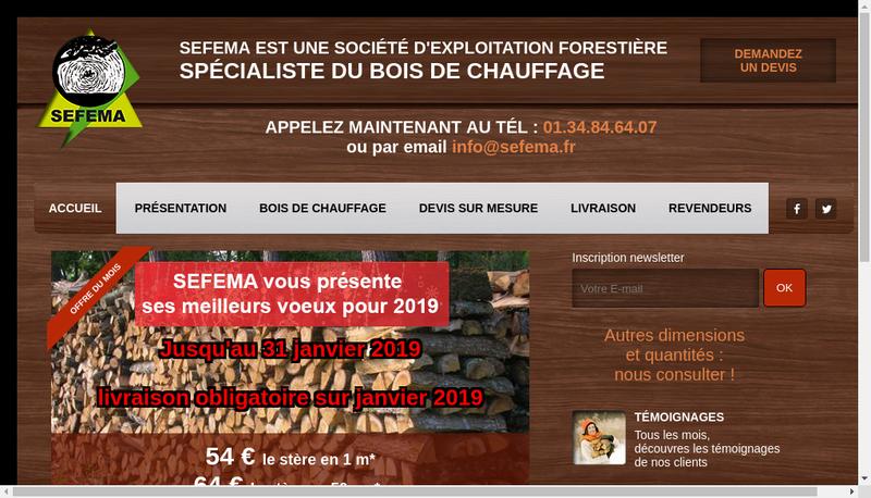 Capture d'écran du site de Sefema