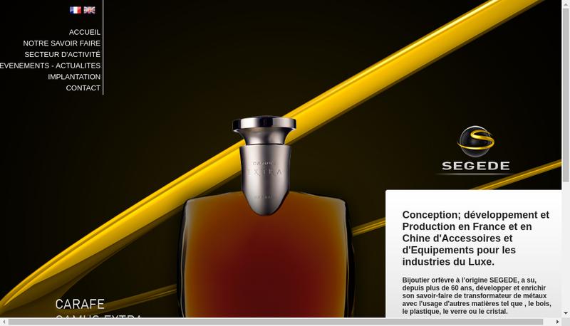 Capture d'écran du site de Segede Industrie