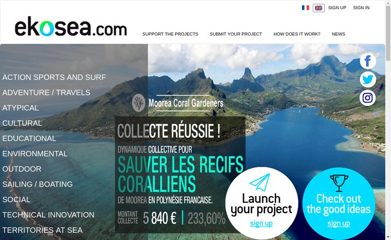 Capture d'écran du site de Ekosea