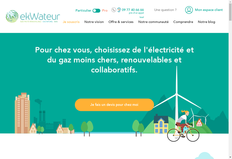 Capture d'écran du site de ekWateur