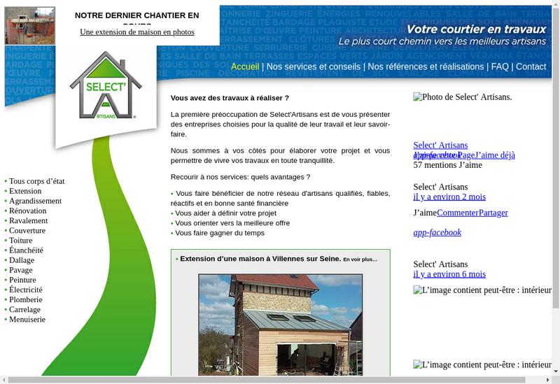 Capture d'écran du site de Select Artisans