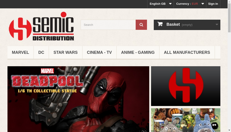 Capture d'écran du site de Semic Distribution