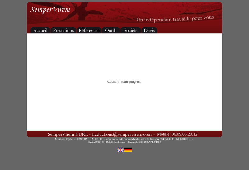 Capture d'écran du site de Sempervirem