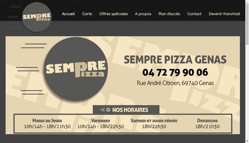 Capture d'écran du site de Sempre Pizza Groupe
