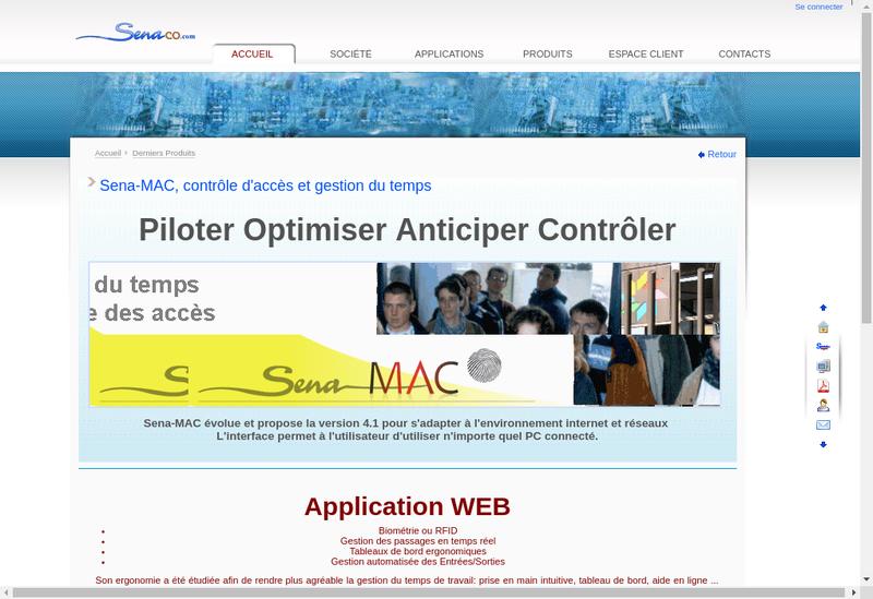Capture d'écran du site de Sena Computer Sena Management
