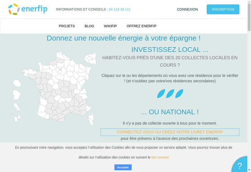 Capture d'écran du site de Enerfip