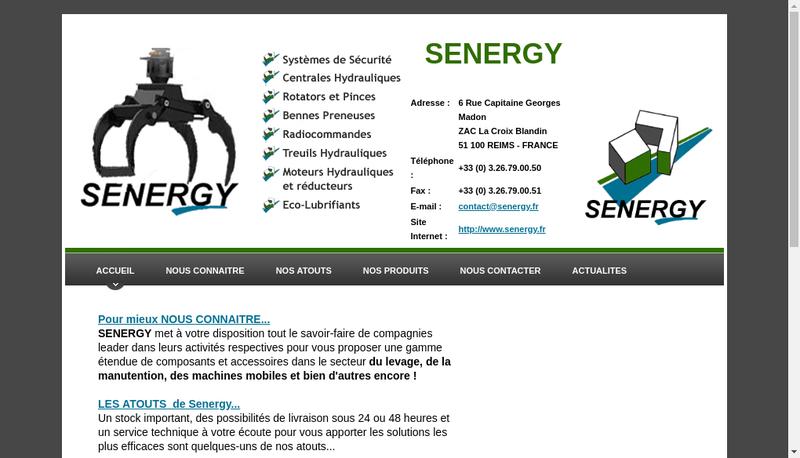 Capture d'écran du site de Senergy