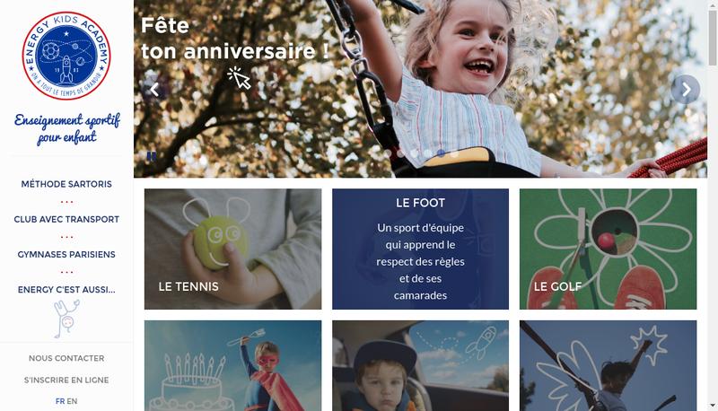Capture d'écran du site de Energy Kids Academy