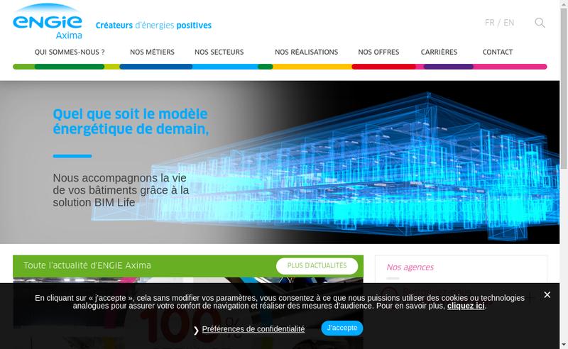 Capture d'écran du site de Engie Axima