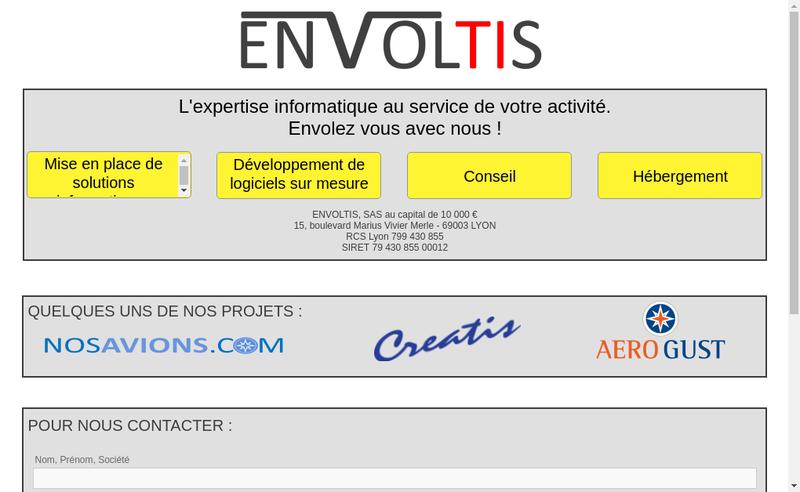 Capture d'écran du site de Envoltis