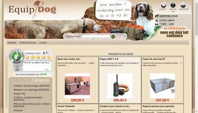 Capture d'écran du site de Equipdog