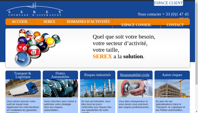 Capture d'écran du site de Serex