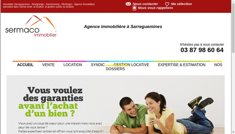 Capture d'écran du site de Sermaco Immobilier