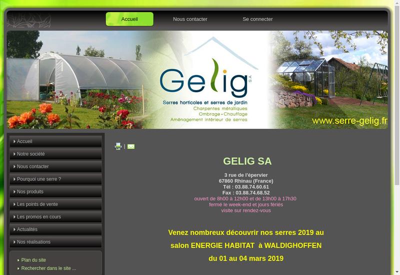 Capture d'écran du site de Gelig