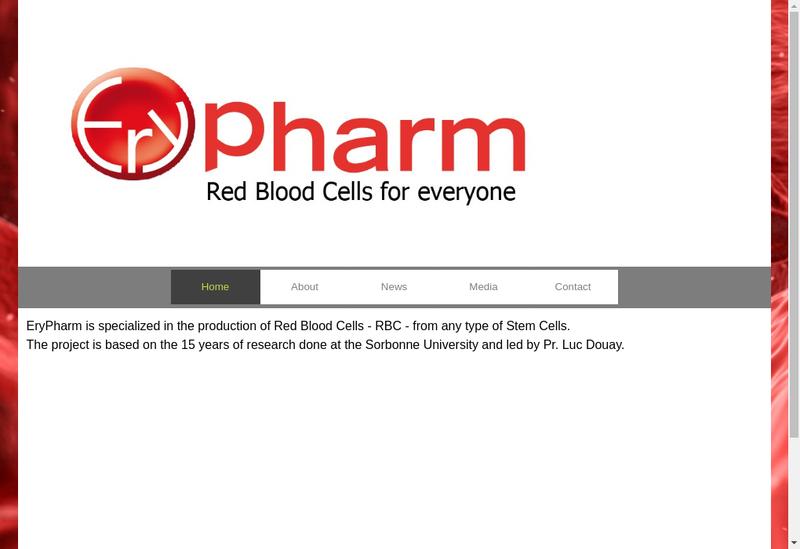 Capture d'écran du site de Erypharm