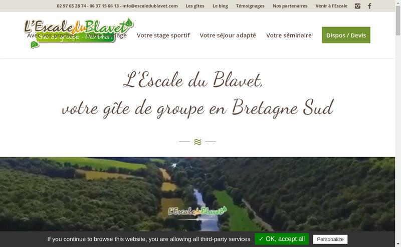 Capture d'écran du site de SARL l'Escale du Blavet