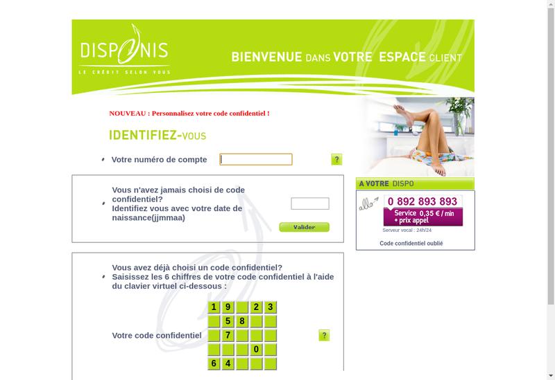 Capture d'écran du site de Disponis