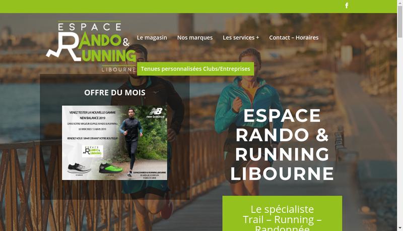 Capture d'écran du site de Espace Rando & Running