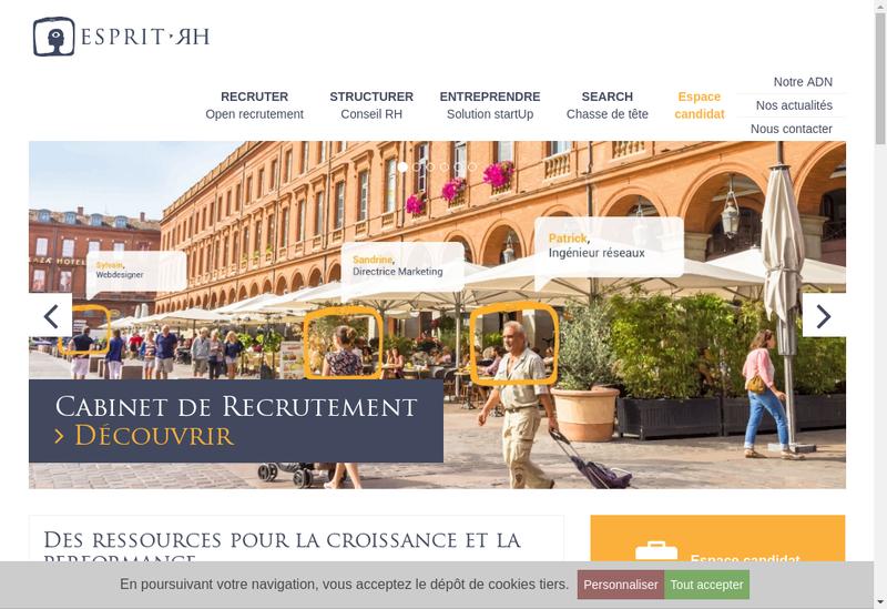 Capture d'écran du site de Esprit Rh