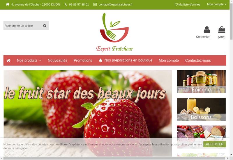 Capture d'écran du site de Esprit Fraicheur