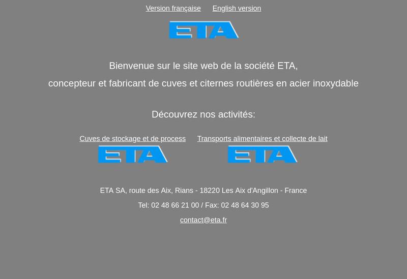 Capture d'écran du site de Societe ETA SA