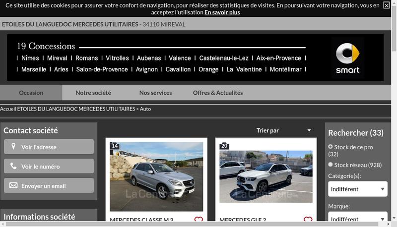 Capture d'écran du site de Etoiles du Languedoc