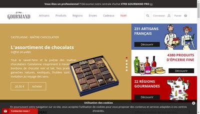 Capture d'écran du site de Etre Gourmand