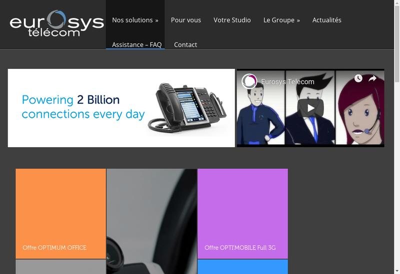 Capture d'écran du site de Eurosys Telecom