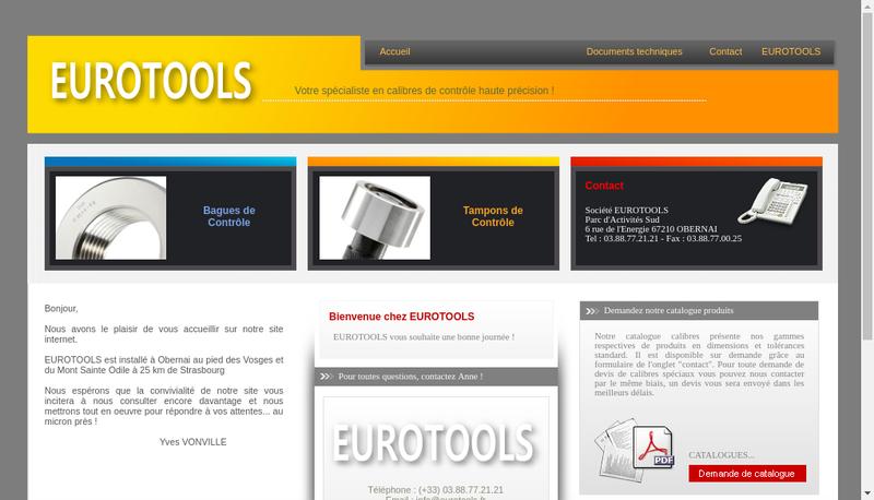 Capture d'écran du site de Eurotools