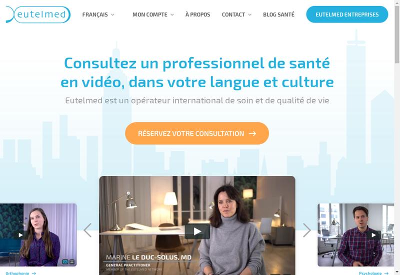 Capture d'écran du site de Eutelmed