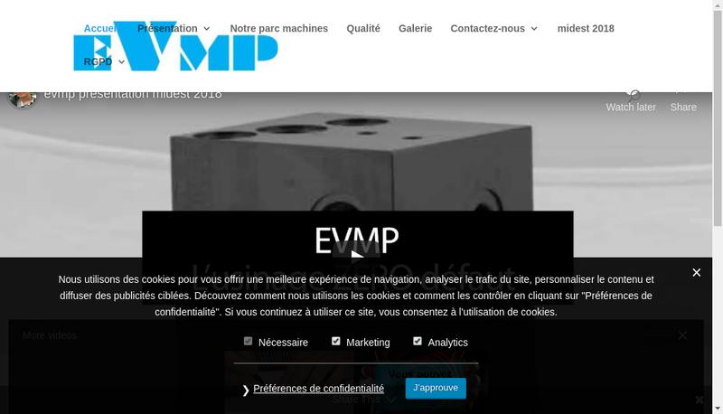 Capture d'écran du site de EVMP
