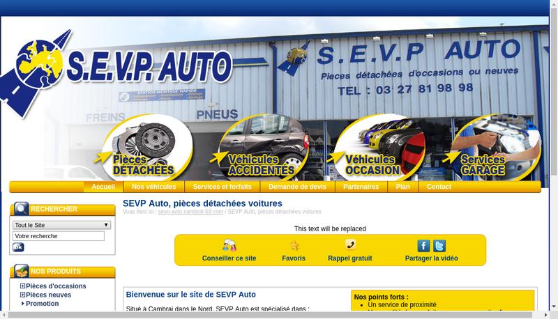 Capture d'écran du site de Sevp Auto Cambrai 59