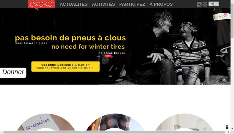 Capture d'écran du site de Reseau Exeko