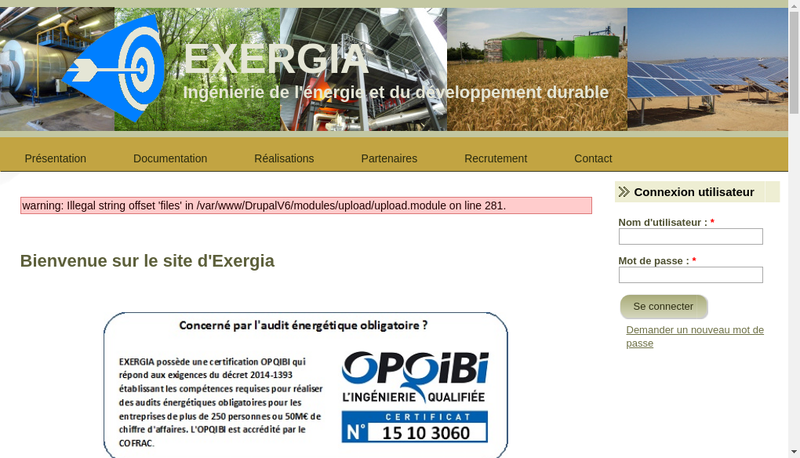 Capture d'écran du site de Exergia