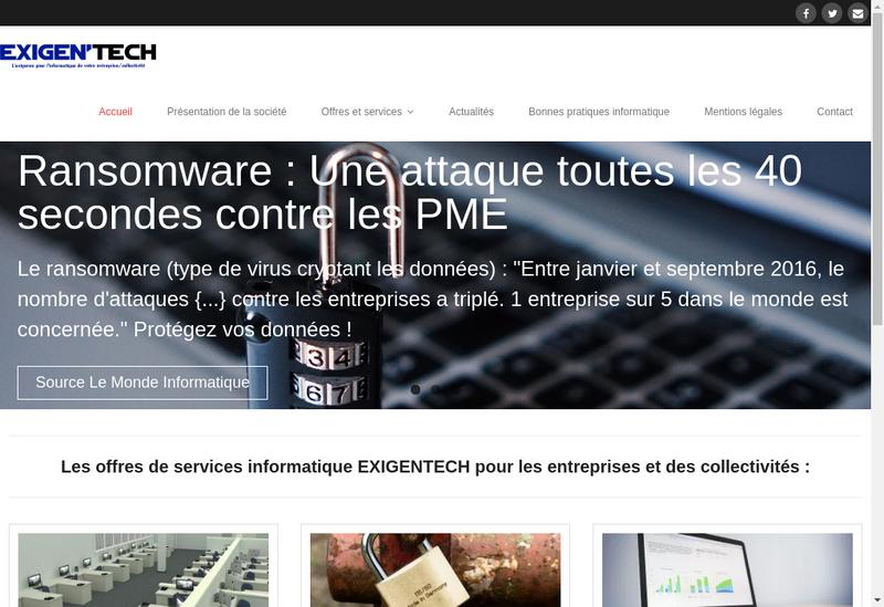 Capture d'écran du site de Exigentech