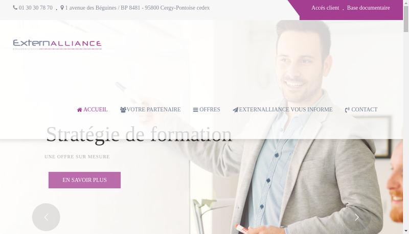 Capture d'écran du site de Externalliance