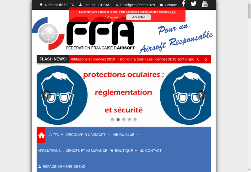 Capture d'écran du site de Federation Francaise d'Airsoft