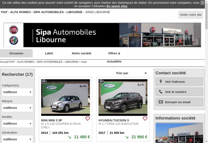Capture d'écran du site de Auto-Port Libourne