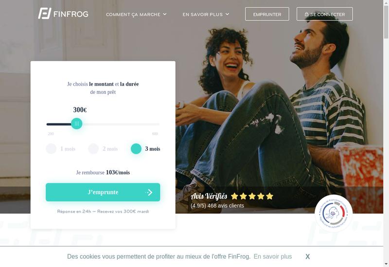 Capture d'écran du site de Finfrog