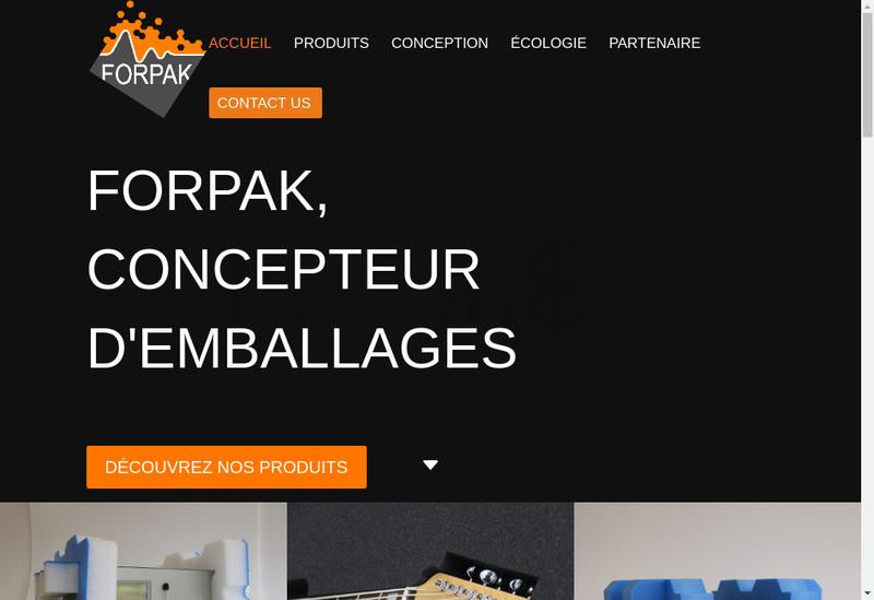 Capture d'écran du site de Forpak