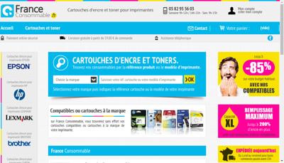 Capture d'écran du site de France Consommable