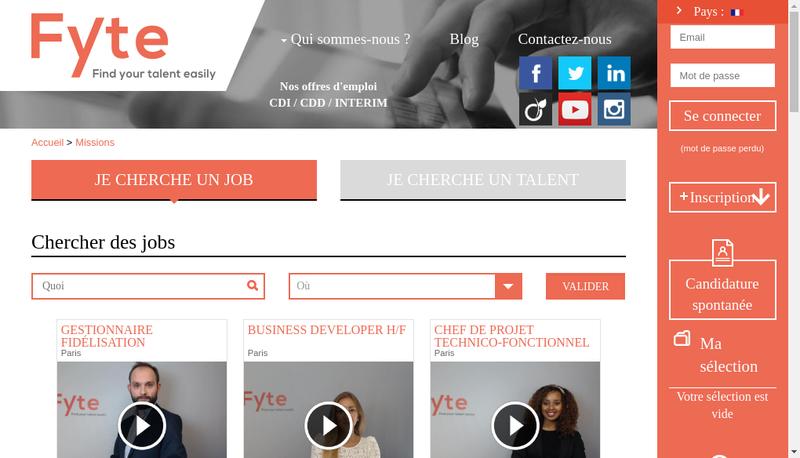 Capture d'écran du site de FYTE
