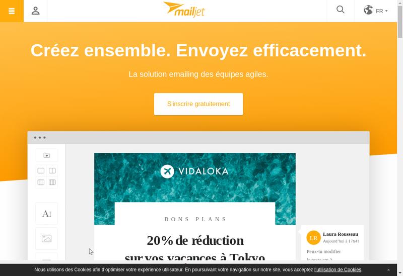 Capture d'écran du site de Mailjet