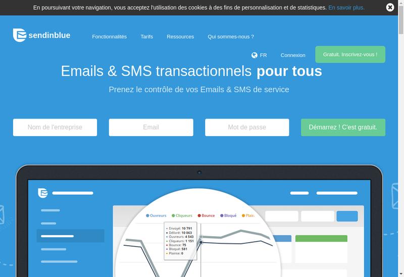 Capture d'écran du site de Sendinblue