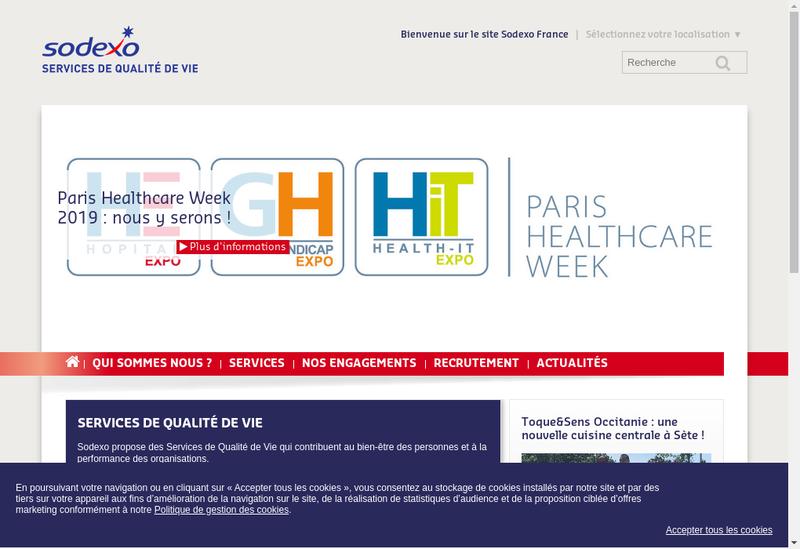 Capture d'écran du site de Sodexo Hygiene et Proprete